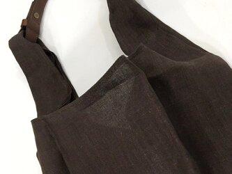革とリネンのサブバック【秋冬用茶色】の画像
