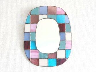 カラフルガラスパッチワークの鏡 [北東]の画像