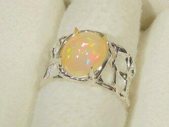 2.35ctオパールとSV925の指輪(リングサイズ:12号、サイズ変更可、ロジウム厚メッキ、天然石、10月の誕生石)の画像