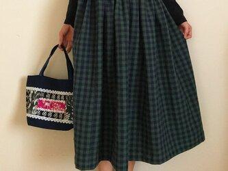 ギンガムチェック コットンリネン あなたサイズのギャザースカートの画像