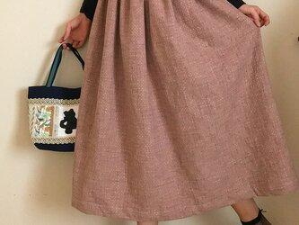 刺繍生地  裏地付き あなたサイズのギャザースカートの画像