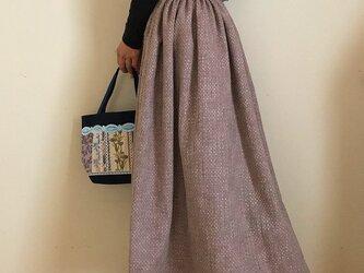 セミオーダー 刺繍生地  裏地付き あなたサイズのギャザースカートの画像