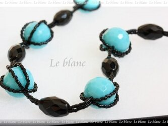 ビビッドカラーネックレス(turquoise&black)の画像