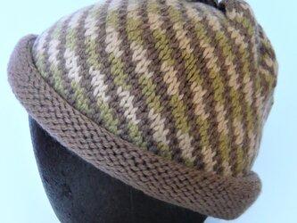 草木染毛糸の手編み帽子 AD-269の画像