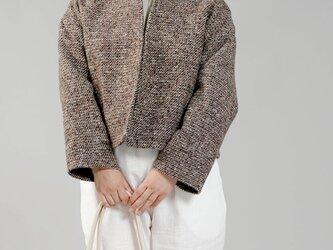 【wafu】リネン裏地×ツイード ウール ジャケット 総裏付き wool カラーネップ/ツイードブラウン h005a-tbw3の画像