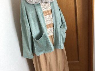セール♪スヌード付きショート丈羽織り☆ミントの画像