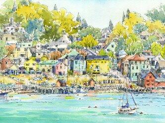 注文制作します 水彩画原画 秋色の港町(#430)の画像
