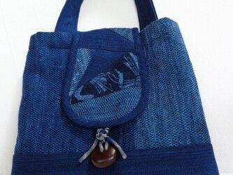 裂織り 藍染め裂き織りバッグの画像