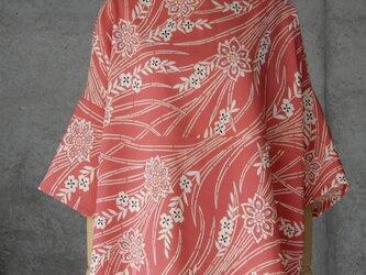 着物リメイク チュニックブラウス/フリーサイズ/ピンクの画像