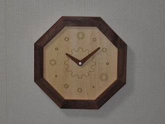 壁掛け八角時計 ウォールナット 視力検査時計 ランドルト環の画像