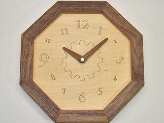 壁掛け八角時計 ウォールナット 数字の画像