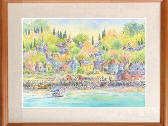 注文制作します 水彩画原画 春色の港町(#429)の画像