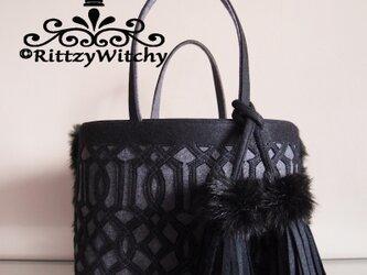 ボンボンタッセル付き モロカン模様ファートート(黒×イタリアンウールのグレー)の画像