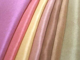 (X)正絹胴裏 手染め羽二重7枚 はぎれセット 秋色・茶系 つまみ細工用布・手芸用の画像