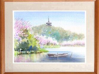 注文制作します 水彩画原画 三渓園の桜(#431)の画像