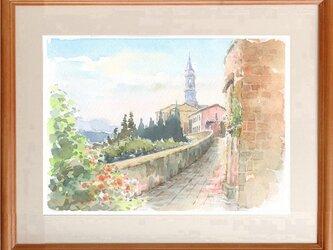 注文制作します 水彩画原画 古都ピエンツァ(#432)の画像