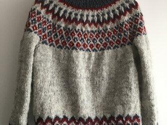 手編みセーター アイスランドロピ トリコロールの画像