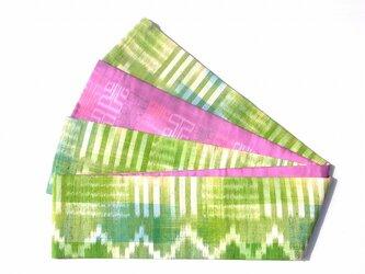半幅帯 黄緑とピンク紫卍柄 HAN1244の画像