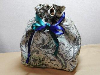 在庫僅か☆巾着ポーチ(薄グリーン系ジャガード)ML ランチバッグお弁当 バッグインバッグ 収納整頓の画像