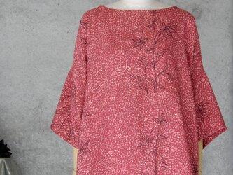 着物リメイク チュニックブラウス/フリーサイズ/手描きの花 の画像