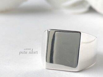 送料無料✴︎スクエアリング 純銀  purecubicの画像