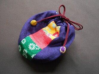 ちりめんパッチのミニ巾着袋/濃紫・黄赤緑の画像