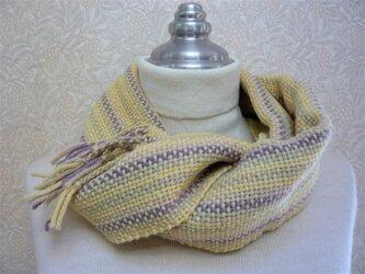 草木染毛糸の手織りマフラー M-124の画像