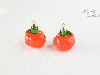 【2個入】かぼちゃ パーツ パンプキン チャーム 秋 丸ごと F0050の画像