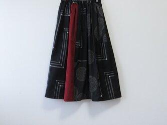 *アンティーク*着物*手織り紬のパッチスカート(裏地つき)の画像