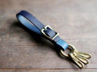 藍染革[shiboai]の真鍮金具キーホルダー【天藍】の画像