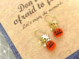 * ハロウィン * かぼちゃ パンプキン  星 スター ラインストーン おしゃれ フック ピアス / イヤリングの画像