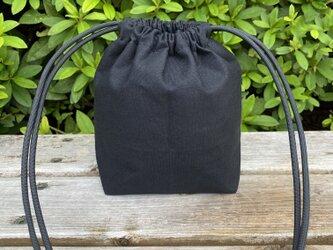 帆布ポシェット 巾着タイプ クロの画像