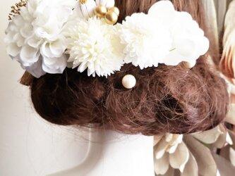 white系ダリアのヘッドドレス12点Set No763 結婚式 髪飾りの画像