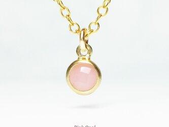 【10月誕生石】上品な1粒。ピンクオパールのネックレス [送料無料]の画像