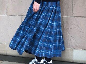 水色チェックフランネル ティアードギャザースカート 裏地付き 受注製作の画像