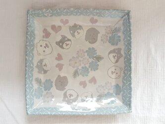 練上 ワンちゃん角平皿 透明釉の画像