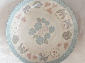 練上 ワンちゃん丸皿 透明釉の画像