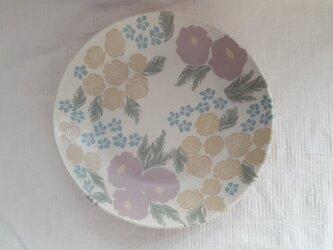 練上 牡丹 薔薇 丸深皿 マット釉の画像