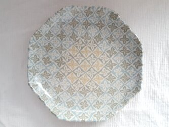 花菱文 八角縁波平皿 緑 透明釉薬の画像