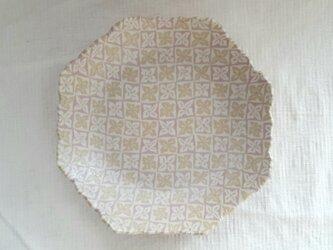 花菱文 八角縁波皿 ピンク マット釉薬の画像