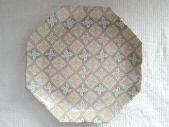 花菱文 八角花平皿 ピンク 透明釉薬 (値引きしました)の画像