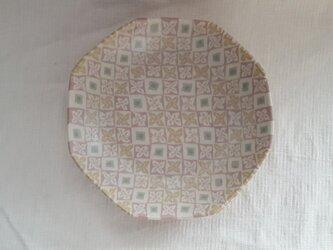 花菱文 八角深皿 ピンク マット釉薬 (値引きしました)の画像