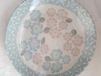 花模様 丸深皿 透明釉薬の画像