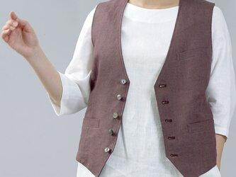 【wafu】リネンベスト 総裏地仕様 スーツスタイルにも 裏地もリネン 男女兼用/小豆色(あずきいろ) h012a-azk2の画像