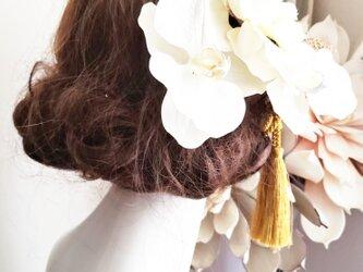 大きな胡蝶蘭とゴールドかすみ草の髪飾り8点Set No764の画像