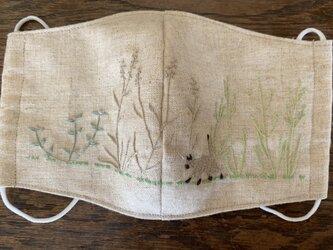 マスク シャム猫と草花の画像