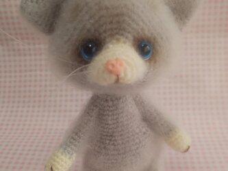 ふわふわ編みぐるみ☆ねこさん☆グレーの画像