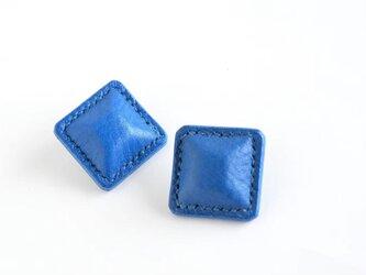 """【レザーピアス/イヤリング】 Airas~square~""""blue""""の画像"""