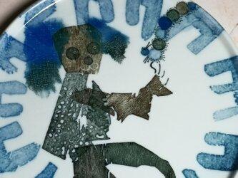 6寸平皿(10-312)犬と毛虫の画像