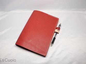 ヌメ革 手縫いのシンプル手帳カバー(レッド色)の画像